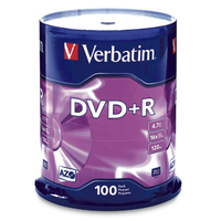 Verbatim DVD+R 4.7GB 16X Branded 100pk Spindle 4.7GB DVD+R 100pcs