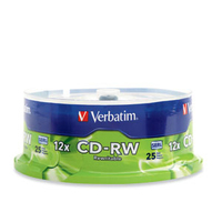 Verbatim CD-RW 80MIN 700MB 4X-12X High Speed Branded 25pk Spindle CD-RW 700MB 25pcs
