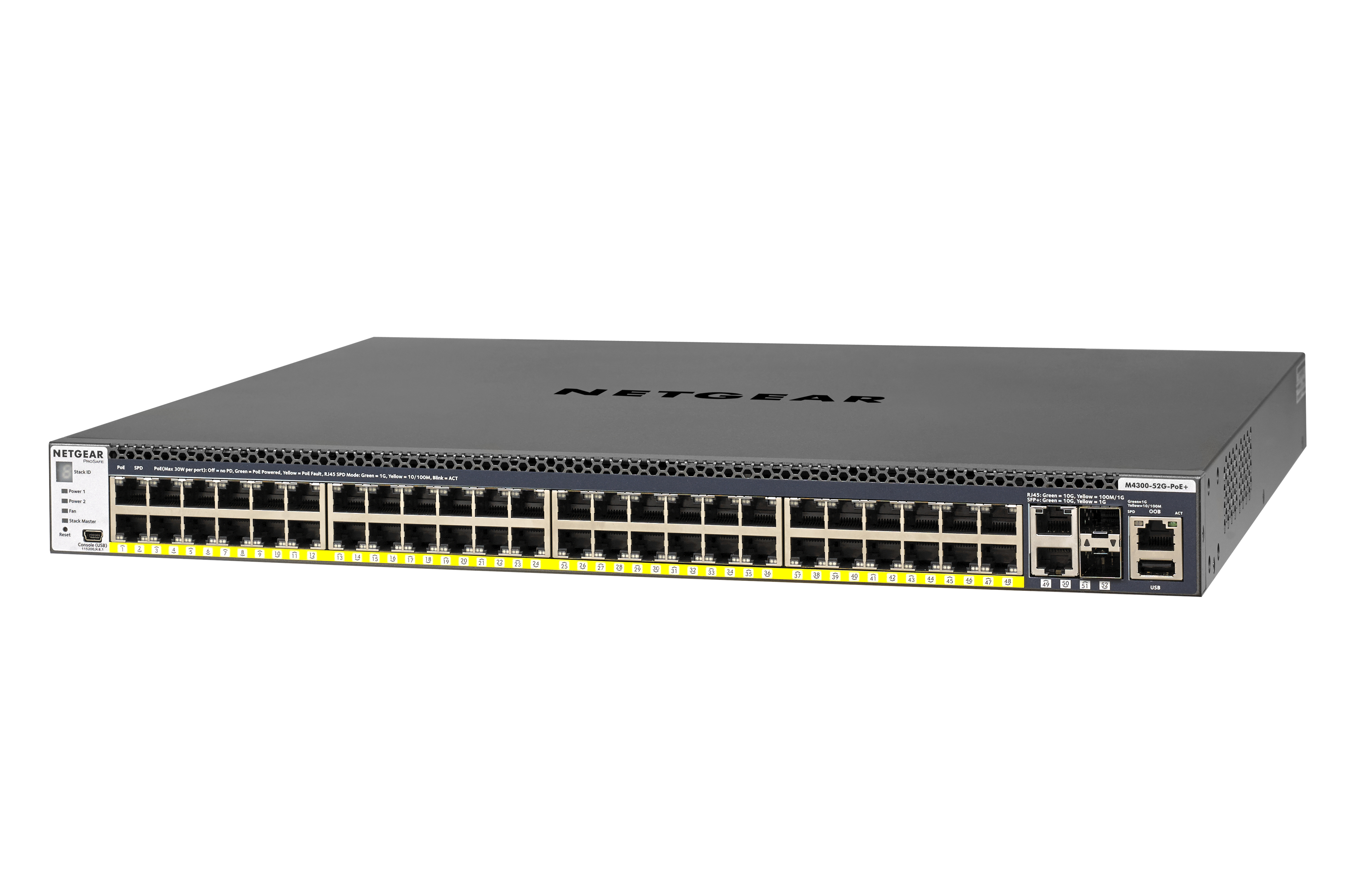 Netgear M4300-52G-PoE+ 550W PSU Managed network switch L2/L3/L4 Gigabit Ethernet (10/100/1000) Power over Ethernet (PoE) 1U Blac