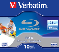 Verbatim BD-R SL 25GB 6x Printable 10 Pack Jewel Case BD-R 25GB 10stuk(s)