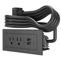 C2G Furniture Power Center with 2 Outlets and USB 2 x USB A + 2 x NEMA 5-15 Black socket-outlet