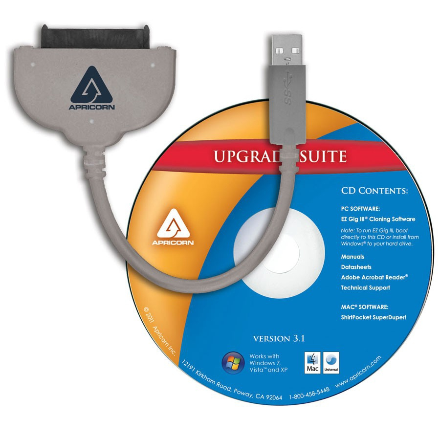 Apricorn ASW-USB3-25 USB 3.0 (M) SATA Grey cable interface/gender adapter