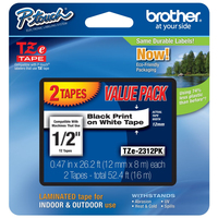Brother TZE2312PK Black on white TZe label-making tape