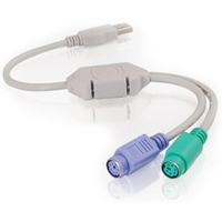C2G USB to Dual PS/2 Keyboard/Mouse Adapter 1ft USB A mini-DIN 6 cable interface/gender adapter