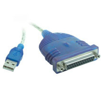 C2G USB to DB25 IEEE-1284 Parallel Printer Adapter Cable 6ft 1.83m Blue printer cable
