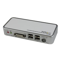 StarTech.com 2 Port Compact USB DVI KVM w/ Cables & Audio Switching White KVM switch