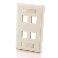 C2G 4-Port Single Gang Multimedia Keystone Wall Plate White