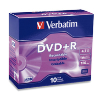 Verbatim DVD+R 4.7GB 16X Branded 10pk Slim Case 4.7GB DVD+R 10pcs