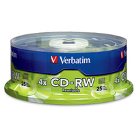 Verbatim CD-RW 80MIN 700MB 2X-4X Branded 25pk Spindle CD-RW 700MB 25pcs