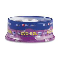 Verbatim DVD+R DL 8.5GB 2.4X Branded 20pk Spindle 8.5GB DVD+R DL 20pcs