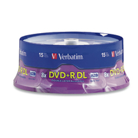 Verbatim DVD+R DL 8.5GB 8X Branded 15pk Spindle 8.5GB DVD+R DL 15pcs
