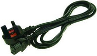 2-Power IEC C13 Lead with UK Plug C13 coupler Black power cable